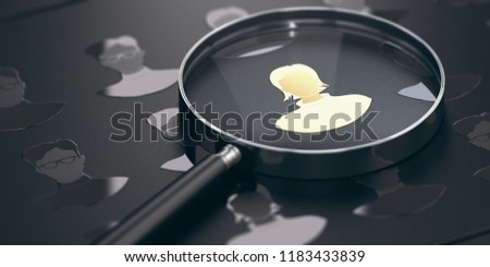 Black background with silhouettes of men and women with focus on a golden talent and a magnifying glass. Staffing concept. 3D illustration