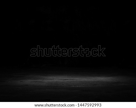 Black background with spotlight to stone ground. Dark interior background. 3D rendering