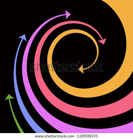 Black background with wave of colorful twisted arrows. Abstract illustration with concept of movement with text box. Simple design element for print and web. For vector version see image id 100180508