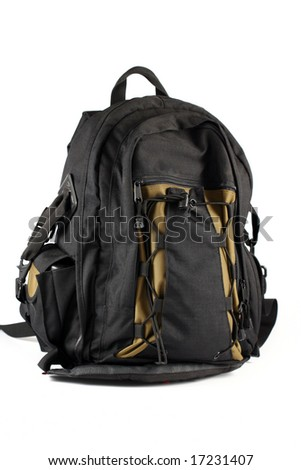 black backpack camera case isolated on white