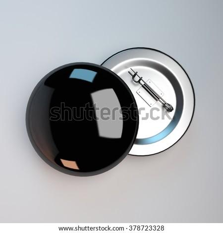 black badge pin brooch mock-up