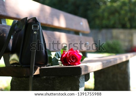 Black bag and rose on the bench.