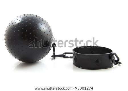 Black ball with chain isolated over white