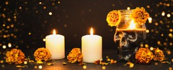 Black Banner with Burning candles, Skull and marigold flowers. Dia de los muertos day or day of the dead