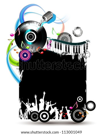 Black banner with dancing silhouettes and vinyl record