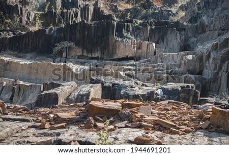 Black basalt stone quarry in India. Stock fotó ©