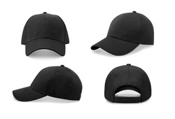 Black baseball cap in four different angles views. Mock up.