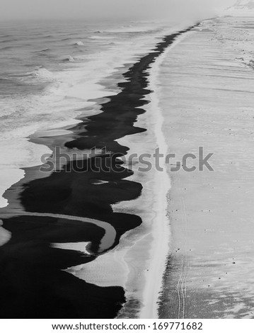 Black beach at Iceland in black and white