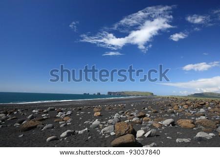 Black beach at Reynisfjara near Dyrholaey and Vik in Myrdal, Iceland