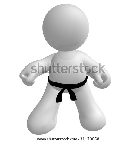 Black belt fighter icon pose