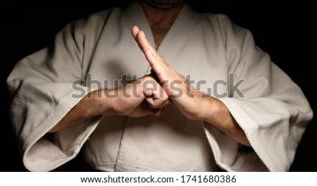Black belt Karate Sensei closeup stances Stok fotoğraf ©