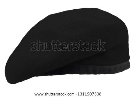 black beret isolated on white background
