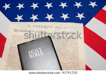 black Bible and Declaration of independence on the ensign of the USA #41791750
