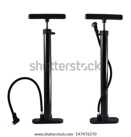 Black bicycle air pump isolated over white background, set of two foreshortenings