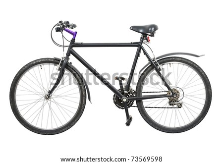 Black bicycle isolated on white background