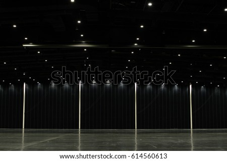 Black big clean empty industrial hall as warehouse or office space  #614560613