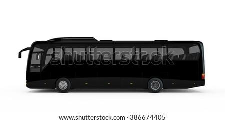 Black big tour bus isolated on white background