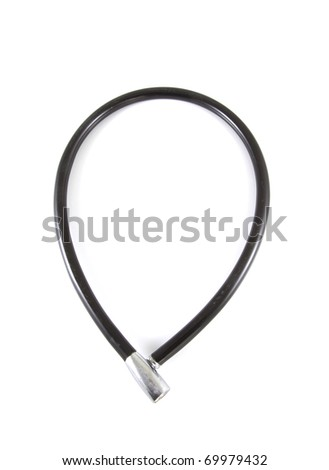 Black bike lock on a white background.