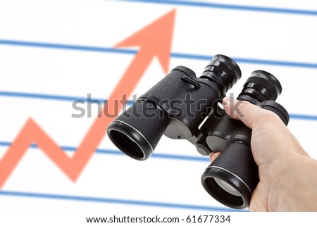 Black Binoculars and Market Chart, Concept of Business Success