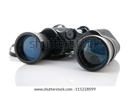 Black binoculars isolated over white background - stock photo
