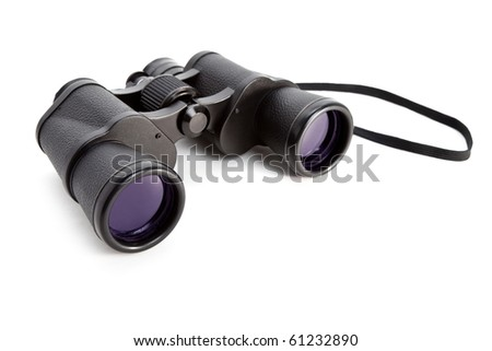 Black Binoculars with white background - stock photo
