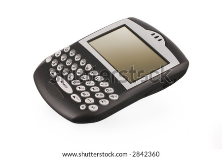 black blackberry pda on white ground with gradiated led display