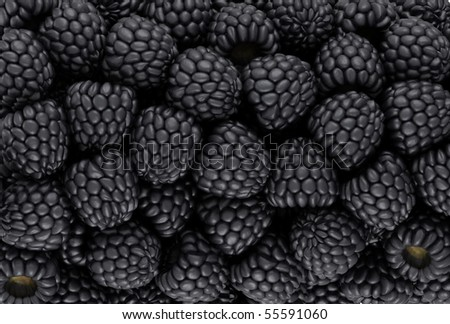 Black blackberry texture or background. CG render