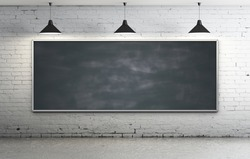Black blackboard in brick loft