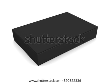 Black blank box isolated on white background. 3d render