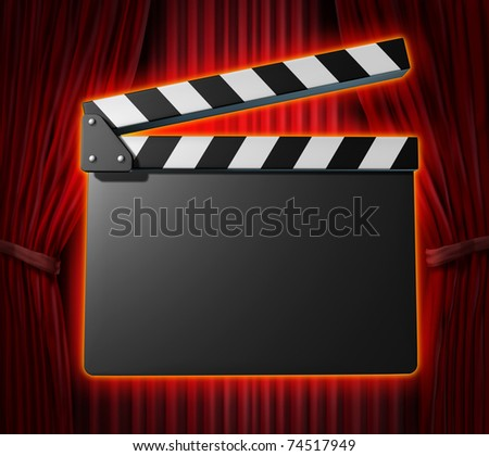 Black blank clapperboard movies symbol represented by a film slate on red curtain drapes background.