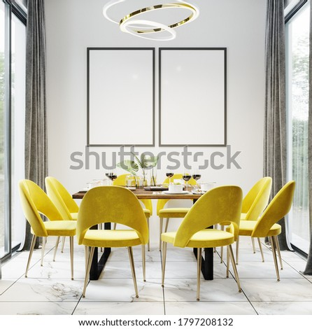 Black blank frames in Luxury modern dinning room interior background for mockup with bright yellow chairs, table with dishes, panoramic windows and gold chandelier, dinning room mockup,  Stock photo ©