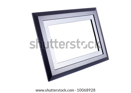 Black blank plastic and metal photo frame isolated on white. Put your image inside it.