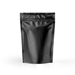 Black blank plastic vacuum sealed pouch coffee bag isolated on white background. Packaging template mockup collection. With clipping Path included.