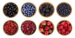 Black-blue and red berries isolated on white background. Collage of different fruits and berries. Blueberry, blackberry, cherry, strawberry, currant and raspberry. Top view.