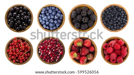 Black-blue and red berries isolated on white background. Collage of different fruits and berries. Blueberry, blackberry, cherry, strawberry, currant and raspberry. Top view.  #599526056