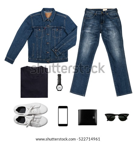 Black & BlueTone Man's clothing collections isolate on white(shirt,jean,wallet,watch,sunglasses,phone,jacket,shoe) with clipping path #522714961