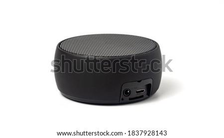 Black bluetooth speaker isolated on whitebackground.