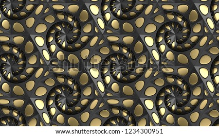 Black body shape with perforated protuberances and depressions with golden decor elements. High quality seamless texture.