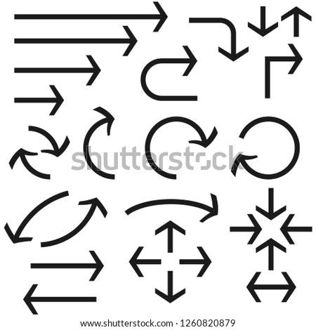 Black bold arrows set. Set of icons. Illustration isolated on white background. Raster version #1260820879