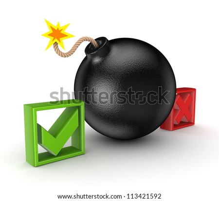 Black bomb between tick and cross mark.Isolated on white background.3d rendered.