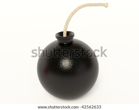 black bomb on white background
