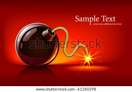 black bomb with burning bickford's fuse vector illustration