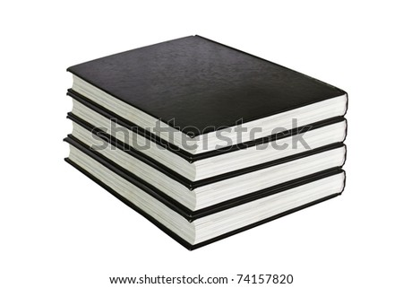 black book in row  isolated on white