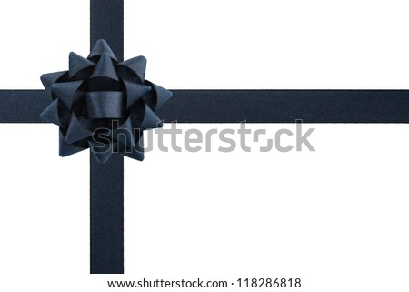 Black bow and ribbons isolated on white background