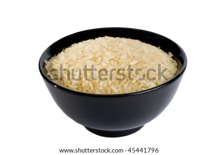 Black bowl full of rice (isolated on white)