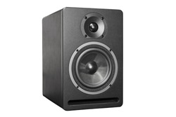 Black box acoustic system with speaker isolated on white.