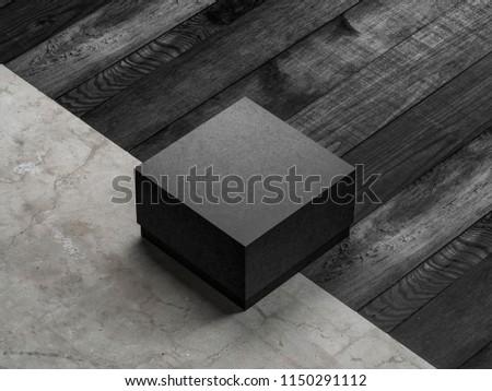 Black Box Mockup package on the floor, 3d rendering