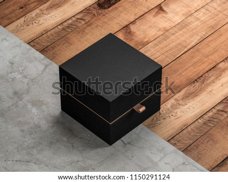 Black Box packaging Mockup Half Side View on the floor, 3d rendering