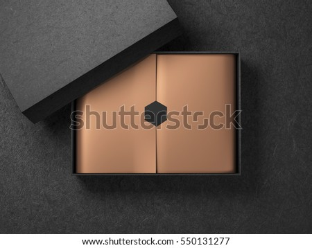 Black Box with Copper Gold wrapping paper and black label sticker. Horizontal, 3d rendering