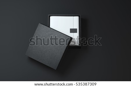 Black Box with wrapping paper and label or tag. 3d rendering